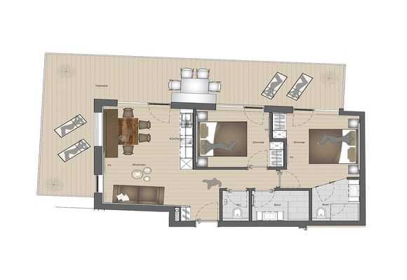 Apart Sky Loft Gold with panoramic terrace, 2-6 pers., 65 m²
